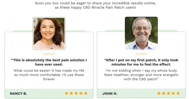 CBD Miracle Pain Patch testimonials